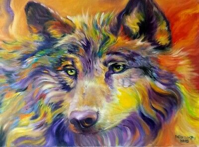 """PSYCHEDELIC WOLF oil on canvas 16X20"""" beautiful colors, intense gaze, original"""