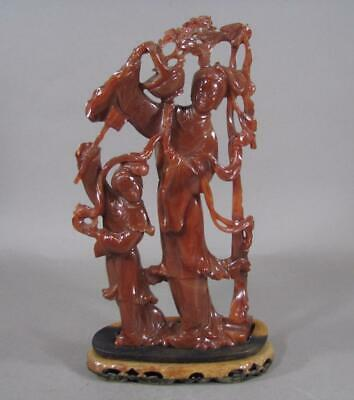 Fine Vintage Chinese Carved Agate Statue, Wood Stand, 9 1/2 Inch, Nice Color
