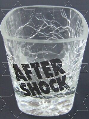 COLLECTIBLE Shot-Glass AFTER SHOCK Squared Cube CRACKLED Glass AFTERSHOCK