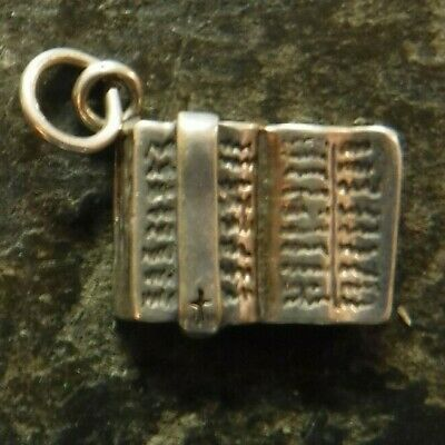 Vintage Holy Bible Medal, Charm, Sterling Silver