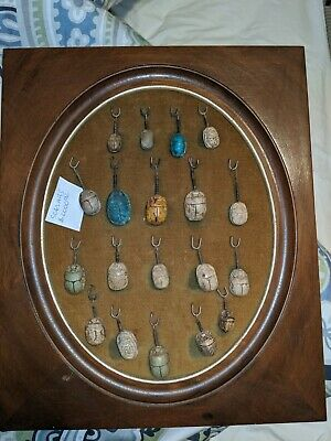 Lot of 19 Egyptian scarab from 1800's, all on original display. Antique