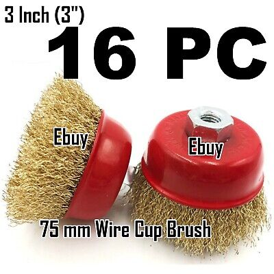 "16pc x 3"" x 5/8"" Arbor FINE Crimp Wire 16 Cup Wheel Brush - For Angle Grinders"