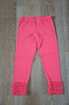 Persnickety Girls Ruffle Leggings in Coral Pink Size 7 EUC