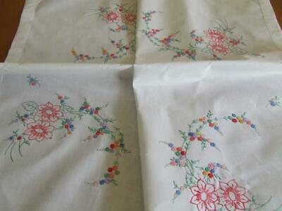 A Lovely Vintage Hand Embroidered Tablecloth - Corner Mixed Floral Pattern