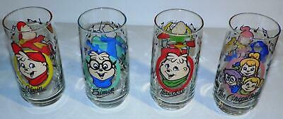 """VTG 1985 """"ALVIN and the CHIPMUNKS"""" TV CARTOON COLLECTOR PROMO GLASS COMPLETE SET"""