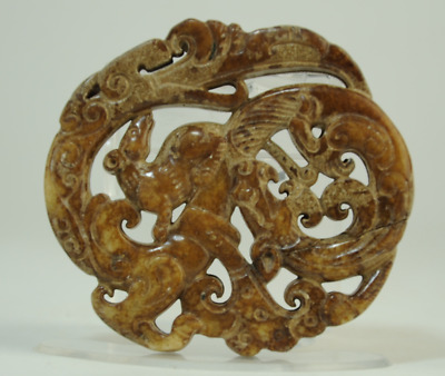 Collect Rare chinese natural old jade hand-carved dragon statue pendant 0803B