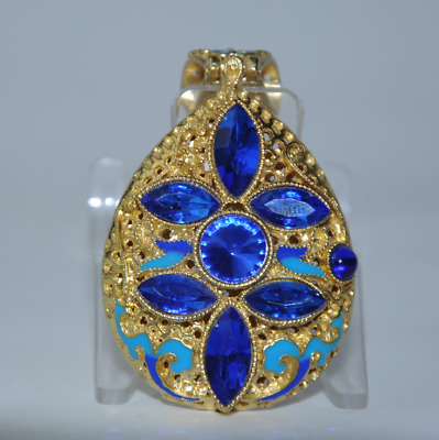 China old cloisonne Miao gold plating inlay natural sapphire pendant gift /Aa01