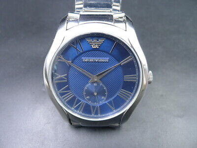 New Old Stock Emporio Armani Ar11085 Blue Face Stainless Steel Quartz Men Watch