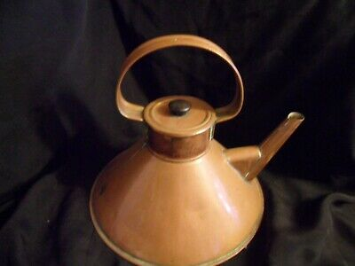 Vintage Arts And Crafts Copper Kettle Flat Bottom /Barge/ Boat