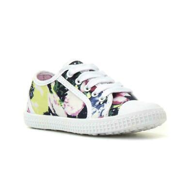 Girls Canvas Shoe Lace Up Shoe with Floral Canvas by Chatterbox Daisy Casual Sz