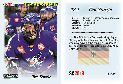 2019 SC Tim Stutzle 14/20 RC Rookie DRAFT PROSPECTS Germany