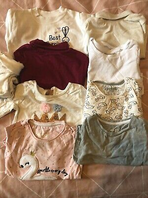 9-12m Baby Girl T-shirt/top Bundle. Swan And Crown Themed.