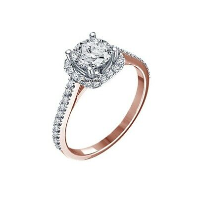 Ladies Bridal Engagement Ring 10k Rose Gold Finish Round Cut Halo Diamonds