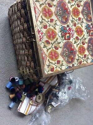 Vintage Wicker Sewing Basket And Contents. Cotton Reels Buttons Bobbins Etc.