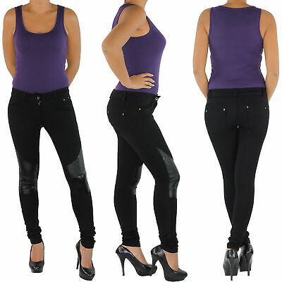 Damen Stretch Hose Jeans-Look Röhre Skinny Leggings Leggins Treggings 42 44