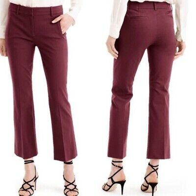 J.CREW Teddie Women's Maroon Wine Color Kick Crop Flare Pants Size 4 ~EUC
