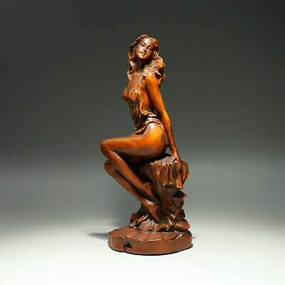 Collectable China Old Boxwood Hand-Carved Nude Belle Delicate Beautiful Statue