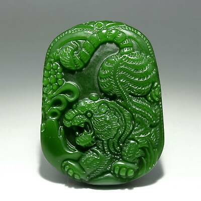 Collectable China Old Green Jade Hand-Carved Fierce Tiger Delicate Decor Pendant