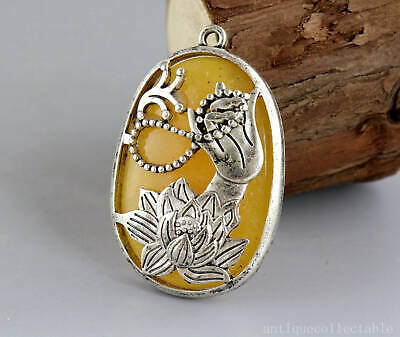 Collect Tibet Silver Armoured Amber Carve Buddha Hand & Lotus Bring Luck Pendant