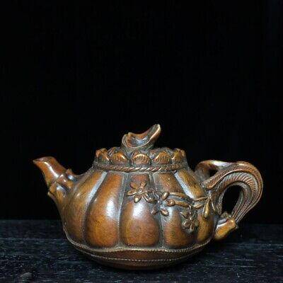 Collectable China Old Boxwood Hand-Carved Bloomy Lotus Delicate Tea Pot Statue