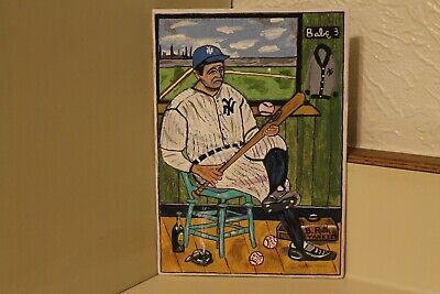 Original Babe Ruth hand Painted  Baseball Art by Canadian Artist  David Bowers