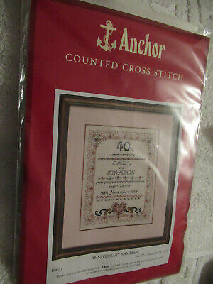 Anchor  Counted Cross Stitch - Anniversary Sampler -  Not Used