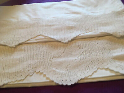 2 white vintage cotton pillowcases both with deep lace with birds in flight