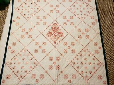 Completed Cross Stitch Quilted Baby Crib Blanket Quilt floral in daimond blocks
