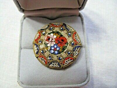 Lovely Antique Micro Mosaic Pin/Brooch - Made In Italy - C Clasp