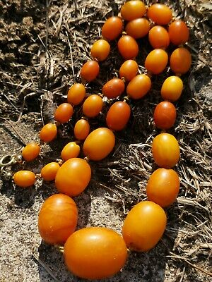 Antique Baltic Butterscotch Amber Olive Bead Necklace 25g