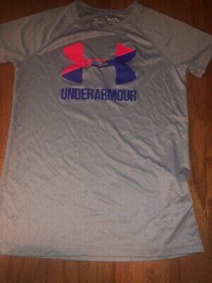 Under Armour Girls Grey Athletic Short Sleeve Tee Size Youth Large Free Ship