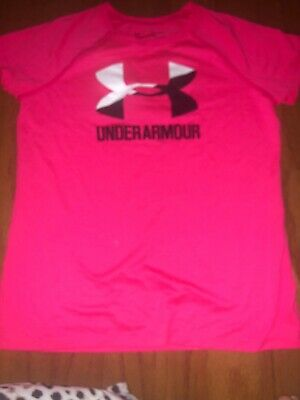 Under Armour Girls Pink Short Sleeve Athletic Tee Size Youth Large Free Ship