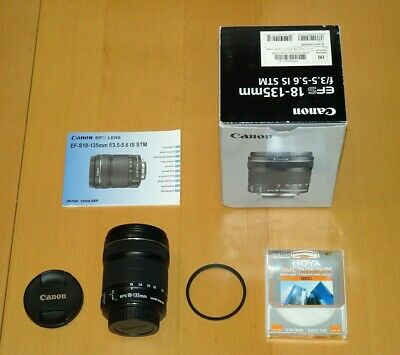 Canon EF-S 18-135mm f/3.5-5.6 IS STM Image Stabilizer Lens. With box and filter