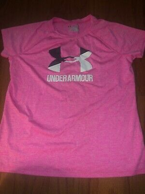 Under Armour Girls Pink Athletic Short Sleeve Tee Size Ypith XL Free Ship