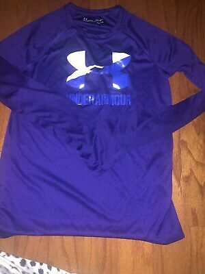 Under Armour Girls Purple Long Sleeve Athletic Top Size Youth Large