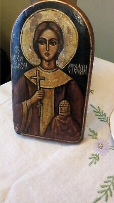 Antique Russian Icon - painted on Wood - Gold Halo