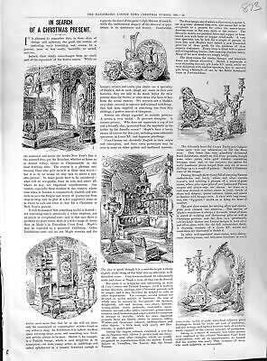 Original Old Antique Print 1891 Christmas Gifts Presents 19th Century
