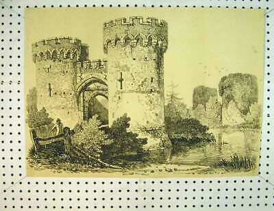 Old Antique Print C1810 Drawing Castle Tower Windows Country Scene River 19th