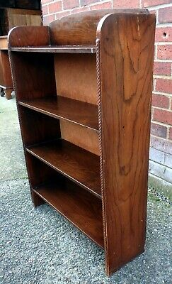Edwardian antique Arts & Crafts solid oak compact open bookcase book shelf