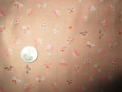 DREAMY Vintage MULTI-COLOR FLOWERS On BROWN 1970's COTTON Fabric-over 3 yd