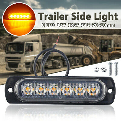 12V Trailer Side Lights 6 Led Stop Tail Indicator Reflector Truck Camper Light