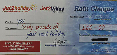 1 × NEW Jet2Holidays £60Rain Cheque voucher SUMMER 2020 CHEAPEST ON EBAY!