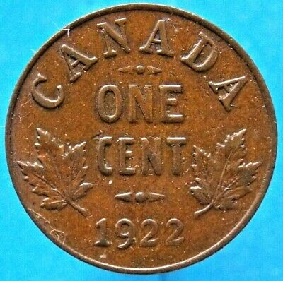 1922 - Key Date - Canada Canadian Small 1 ( One ) Cent  Coin