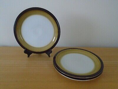 3 Denby (?) Brown Mustard and White Dinner Plates