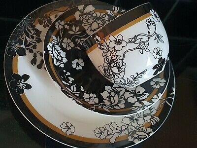 V&A Museum Brocade Fine China TRIO - CUP SAUCER & PLATE Trailing Floral Pattern