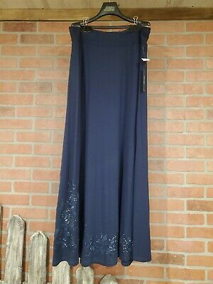 NWT Roz & Ali Long Navy Blue Skirt from Dress Barn Size L (Large) SOFT NEW COMFY