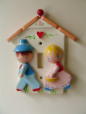 Vintage Light Switch Cover for Child's Room Jack & Jill Boy & Girl Painted Wood