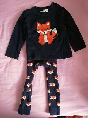 Jojo Maman Bebe fox Long sleeve top and knitted leggings 1-2 Years GUC