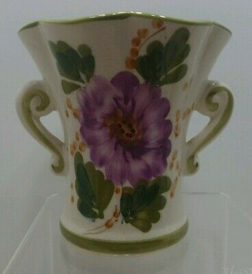 Vintage Vase Pottery Ceramic Hand painted Made in Portugal  FTD Flowers