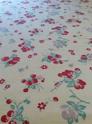 "Cute Vintage Tablecloth - Fruit- Cherries,Strawberries - 38"" X 58"""